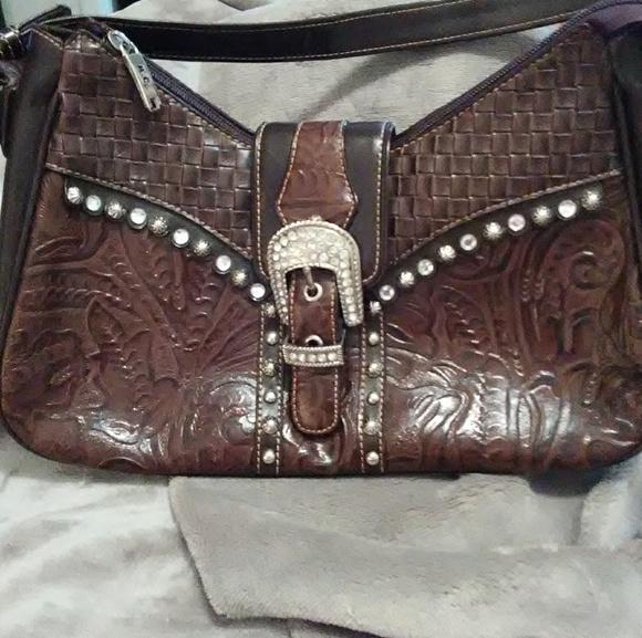 MC Handbags - MC brown leather embellished purse.